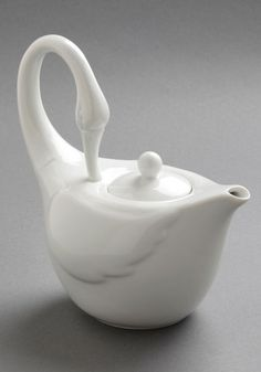 Swans Upon a Time Tea Pot - White, Vintage Inspired, Statement, Minimal, Holiday Sale $39.99