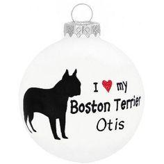 Personalized I Love My Boston Terrier Glass Ornament $10.99