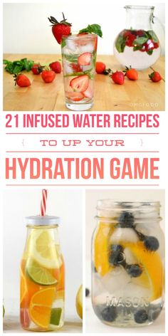 When I need to increase my intake, infused water recipes are such a big help. They're tasty and full of good-for-you vitamins and nutrients. Here are 21 of our favorite infused water combinations. Infused Water Recipes, Fruit Infused Water, Infused Waters, Healthy Eating Tips, Healthy Drinks, Healthy Water, Healthy Detox, Digestive Detox, Lemon Diet