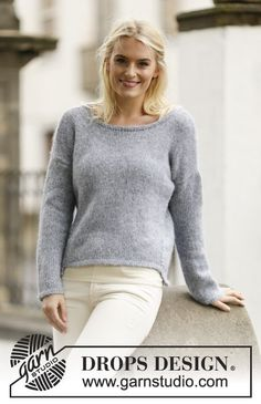 """Knitted DROPS jumper, worked top down in """"Air"""". Size S – XXXL ~ DROPS Design"""