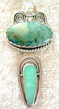 """Chelle' Rawlsky pearl, parrot wing jasper, chrysoprase sterling silver pendant showpiece measuring over 3.5"""" long One of a kind, independent artist, made in the USA Chelle's jewelery can be found in Ebay and Etsy under seller ID annipearls"""
