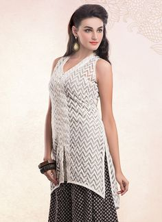 Off White Net Palazzo Suit