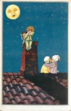 ITALIAN POSTCARD OF CHILDREN, KITTEN AND THE MAN IN THE MOON