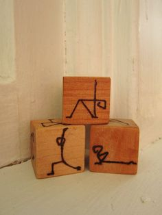 Wooden Handburned Yoga Game Dice blocks great for kids 18 different poses by averyrayne