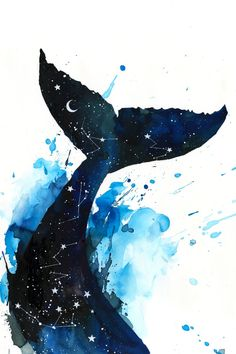 Cosmic Whale by Lora Zombie Art And Illustration, Arte Inspo, Art Sketches, Art Drawings, Whale Art, Painting Inspiration, Cute Art, Watercolor Paintings, Watercolour