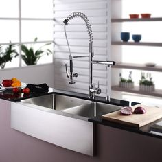 Buy the Kraus Stainless Steel / Chrome Direct. Shop for the Kraus Stainless Steel / Chrome Kitchen Combo - Farmhouse Single Bowl 16 Gauge Stainless Steel Kitchen Sink with Pre-Rinse Kitchen Faucet and Soap Dispenser and save. Pull Out Kitchen Faucet, Double Bowl Kitchen Sink, Farmhouse Sink Kitchen, Kitchen Sink Faucets, New Kitchen, Kitchen Decor, Kitchen Ideas, Kitchen Cabinets, Eclectic Kitchen