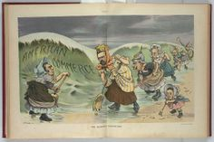 """Illustration shows John Bull, representing """"England"""", and a line of European rulers with the attributes of the Nicholas II """"Russia"""", William II """"Germany"""", Franz Joseph I """"Austria"""", Emile Loubet """"France"""", Victor Emmanuel III """"Italy"""" and #AlfonsoXIII """"Spain"""", each with a broom on a beach trying to sweep back the wave of """"American Commerce"""" about to crash on their shores."""