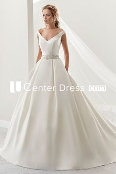 $229.69-Simple V-Neck A-Line Satin Wedding Dress With Beaded Belt. http://www.ucenterdress.com/simple-v-neck-a-line-satin-wedding-dress-with-beaded-belt-and-brush-train-pMK_704897.html.  Shop for Best wedding dresses, Lace wedding dress, modest wedding dress, strapless wedding dress, backless wedding dress, wedding dress with sleeves, mermaid wedding dress, plus size wedding dress, We have great 2016 fall Wedding Dresses on sale. Buy Wedding Dresses online at UCenterDress.com today!#Wedding…