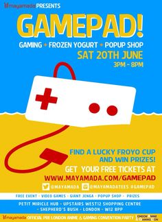 Game Pad pop up event Sat 20th June