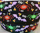 2 Yards SPIDERS BATS EYES HALLOWEEN Grosgrain Ribbon 7 8 Scrapbooking Hair