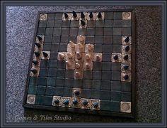 Tafl - . Hnefatafl - Celtic Royal Game board - / 11x11/ with light grey and dark green ceramic tiles / - Made to order