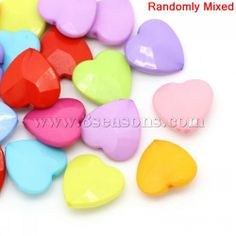 Wholesale Acrylic Spacer Beads Heart Mixed Faceted 20x20mm,Hole:Approx 1.6mm,50PCs from China Supplier – 8seasons.com