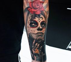 large photo Muerte tattoo by Ata Ink Skull Rose Tattoos, Skull Sleeve Tattoos, Skull Girl Tattoo, Tribal Arm Tattoos, Medusa Tattoo, Red Tattoos, Dope Tattoos, Skull Tattoo Design, Best Sleeve Tattoos