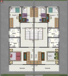 Planta de Sobrado - 3 Quartos - 92.63m² - Monte Sua Casa