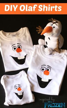 Disney Frozen Craft DIY Olaf Shirts - easy to make and SO cute! Thse Olaf shirts would be so cool if you made them & then wore them for family Christmas pictures! Frozen Birthday Party, Olaf Party, Frozen Party, Birthday Party Themes, Olaf Birthday, Turtle Birthday, Turtle Party, Carnival Birthday, Birthday Ideas