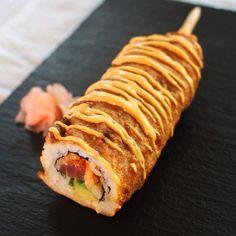 Culinary Bro-Down - Sushi corn dog - spicy tuna roll jammed on a stick, dunked in sriracha cornmeal batter, and deep fried.   (www.ChefBrandy.com)