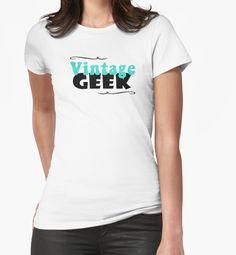 Vintage Geek Retro Typography Aqua Turquoise Blue & Black T-Shirt by vintagegoodness on Redbubble