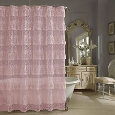 29. Bed Bath. Add old-fashioned elegance to your bathroom with the Priscilla Lace shower curtain. The cascading layers of ruffled lace have grace and texture.