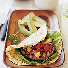Try this delicious Mexican inspired Fajita #Burger #MyPlate #Protein #Fruit #Grains