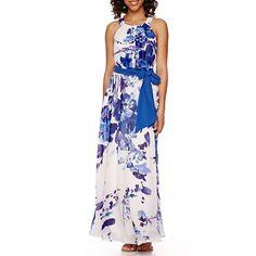 R&K Originals® Sleeveless Floral Chiffon Maxi Dress - JCPenney