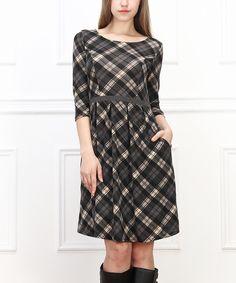 Gray & Cream Plaid Fit & Flare Dress