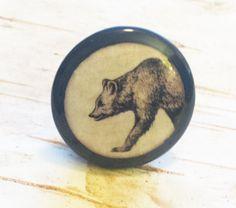 Handmade Bear Birch Knobs Drawer Pulls, Wildlife Cabinet Pull Handles, Handrawn Bear Design, Dresser Knobs, Made To Order by WoodlandCrew on Etsy
