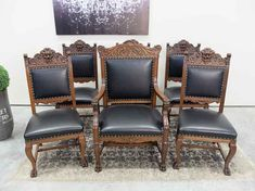 Set of 6 quarter sawn Oak Lions head carved dining chairs. These chairs have been professionally refinished and are solid & tight. The set consist of 1 arm chair and 5 side chairs. Antique Dining Chairs, Dining Table Chairs, Side Chairs, Oak Table, Lions, Armchair, Carving, Antiques, Dining Chairs