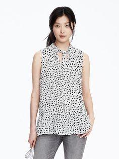 Sleeveless Print Tie-Neck Blouse