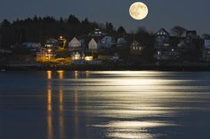 Fine Art prints of Full Moon over Kennebebec River and Georgetown Island on The Coast Of Maine.