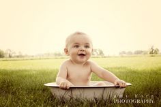 I am such a prop junkie. I love using this antique wash tub for 6 month olds!