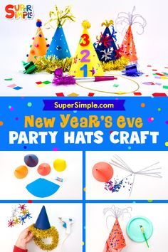 Make some celebratory party hats to ring in the new year!