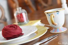 I know we've been over this, but I am beyond excited for the new Beauty and the Beast movie to premiere this Friday! I pulled together a Be Our Guest inspired table top to share with y̵… Beauty And Beast Rose, Beauty And The Beast Movie, Napkins, Magic Kingdom, Disney, Tableware, Top, Friday, Party Ideas