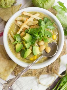 Chickpea Chili Verde: This zesty vegan chile verde is made with chickpeas, poblanos and tomatillos simmered in a cumin spiced base.