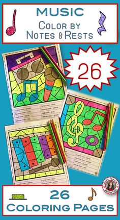 Music Lessons  |  Color by Music Notes and Rests   |  #musiceducation   #musiced