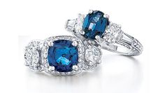 *Ring on Right Side* Sapphire and diamond rings -14k sapphire 1.52cts and diamond .84cts ring $2,975  (#PRSPR06699)
