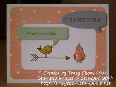 Fun pregnancy congratulations card using Hello You 2014-2015 hostess stamp set from Stampin' Up! http://tracyelsom.stampinup.net