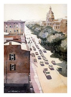 Savannah's Bay Street by the River. Home after High School. Watercolor by Iain Stewart! Nice!
