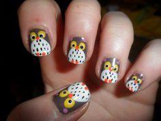 Owl nail art, OMG! love it!