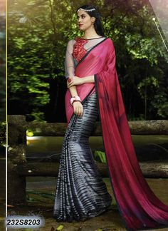 Divine Grey Coloured Satin Printed Saree