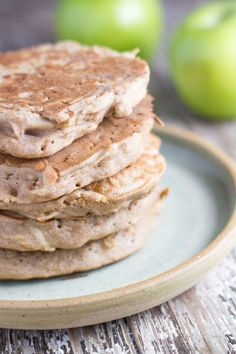 Apple Buckwheat Pancakes - Breakfast Ideas - Gluten Free from Becomingness Buckwheat Recipes, Buckwheat Pancakes, Breakfast Pancakes, Pancakes And Waffles, Buckwheat Bread, Protein Pancakes, Gluten Free Breakfasts, Healthy Breakfast Recipes, Snack Recipes