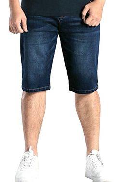 a8af4e29e8 Oberora-Men Plus Size High Waist Washed Denim Straight Leg Casual Denim  Shorts
