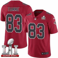Men's Falcons #83 Jacob Tamme Red Super Bowl LI 51 Stitched NFL Limited Rush Jersey
