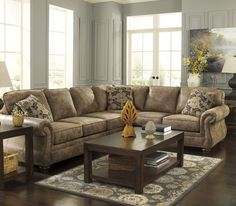 Ashley  Larkinhurst  Sectional (Reversable Configuration); Beautifully designed with dramatic rolled arms : bentley sectional - Sectionals, Sofas & Couches