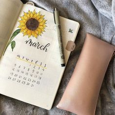 Bullet journal monthly cover page, March cover page, sunflower drawing.   @bulletjournalinspox