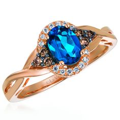 Le Vian 14K Strawberry Gold Halo Fashion Ring Featuring a 0.70 Carat Oval London Blue Topaz and 0.18 Carat Total Chocolate and Vanilla Accent Diamonds. Style WJBO 42