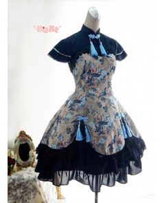Cheap Lolita Cotton Chinese Style Print Fold Tassel Flounced Stand Collar Feifei Sleeve Dress Sale At Lolita Dresses Online Shop. We provide Lolita products with quality and best service online, lower price and top style fashion for you. Estilo Lolita, Fashion Mode, Lolita Fashion, Fashion Outfits, Rock Fashion, Gothic Fashion, Dress Fashion, Fashion Boots, Cute Dresses