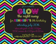 kids glow in dark birthday shirt iron on | Glow Party 5 x 7 Printable Invitati on ...