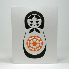 Letterpress Matryoshka Russian Art, Russian Style, Matryoshka Doll, Simple Illustration, Letterpress Printing, Stationery, Dolls, Inspiration, Prints