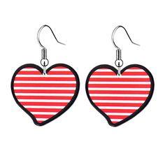 Fashion Red Stripe Plastic Heart Fatback Resin Drop Earrings For Little Girls Acrylic Charm Children's Dangle Earrings Jewelry