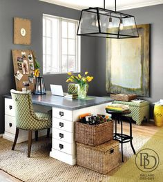 pretty office could also make a similar desk with 2 file cabinets and a piece - Ballard Design Desks